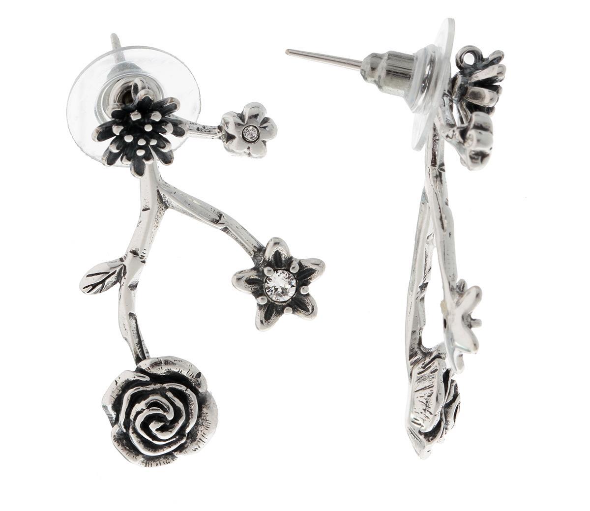 Пуссеты Неббиа — Черненое серебро, Кристаллы Swarovski