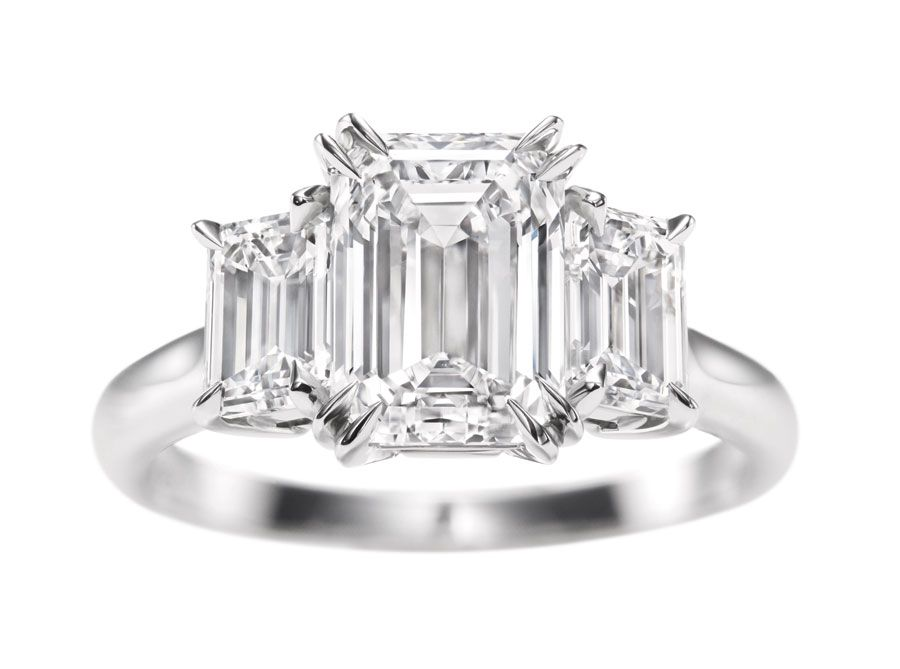 Three stone engagement rings_Harry Winston emerald cut diamond ring.jpg